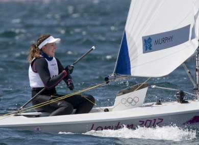 Ireland's Annalise Murphy celebrates crossing the line in first position in the first of two races yesterday.