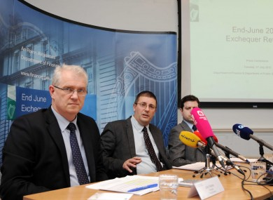 John Palmer, Principal, Fiscal Division, Derek Moran, Assistant Secretary, Fiscal Division and John Howlin, Assistant Principal, Central Division host a press conference presenting the End June 2012 Exchequer Statement at the Department of Finance