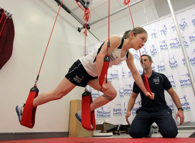 Kearney working out with sports physio David Minion.