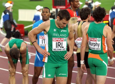 Ireland's David Gillick stands dejected after the 4 x 400m relay in Helsinki.