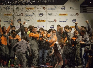 The Groupama sailing team celebrate winning the Volvo Ocean Race in the early hours of Tuesday