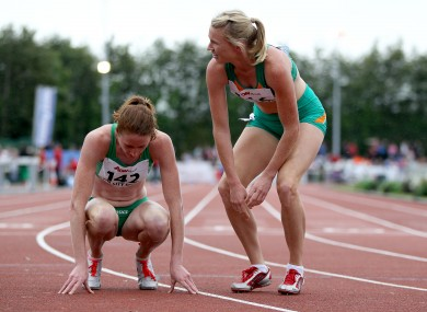 Catriona Cuddihy, right, and her sister Joanne compete in Cork last month.