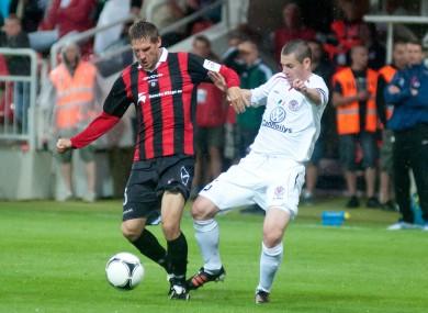 Sligo skipper Danny Ventre and Vlastimil Stozicky of Spartak Trnava.