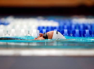Gráinne Murphy trains at the National Aquatic Centre, Dublin ahead of her departure for the Olympics.