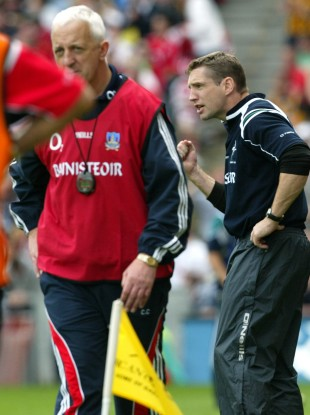 Kildare's Kieran McGeeney and Cork's Conor Counihan during their 2008 All-Ireland quarter-final clash.