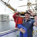 Gavin and his son Daragh Watters from Co Derry getting into the spirit of things. (Sasko Lazarov/Photocall Ireland)