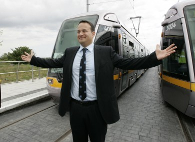 File photo of Minister for Transport Leo Varadkar and the Luas.