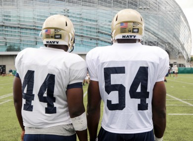 Players from the United States Naval Academy train at the Aviva Stadium