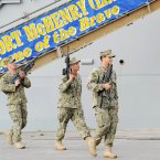 US Marines pictured in Dublin Port carrying their unloaded weapons outside the USS Fort McHenry. (Photo: Laura Hutton/Photocall Ireland)