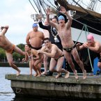 The swim starts at the Loop Line Bridge, beside Custom House and finishes as the East Link Bridge. Here, Lord Mayor of Dublin Naoise O'Muiri gives some of this year's competitors some pre-race encouragement. (Photo: Jason Clarke Photography)