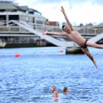 Gareth Quigley looks pretty excited about the swim. (Photo: Jason Clarke Photography)