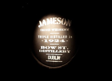 A barrel of whiskey at the Jameson Distillery in Dublin's Smithfield.