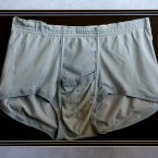 A pair of unwashed briefs belonging to Elvis Presley, at Omega Auctions in Stockport. (David Thompson/PA Images)