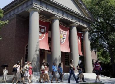 A tour group walking around Harvard campus today.