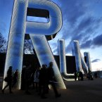 RUN, a work by sculptor Monica Bonvicini, which was unveiled at the London 2012 Art in the Park completion event, at the Stratford Olympic Park. (Ian Nicholson/PA Images)