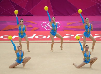 Great Britian compete with five balls during the Rhythmic Gymnastics Group All Round Qualification at Wembley Arena, London.