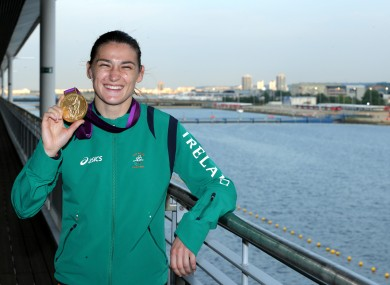 Ireland's Katie Taylor with her gold medal after