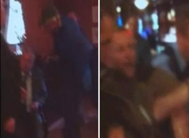 Left frame - Pat Rabbitte, seated, is berated by the man in cap; Right frame - a different man in his 20s is arrested by gardai at Buswell's.