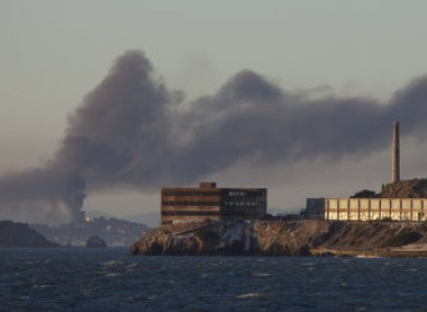 Smoke billowing from the Chevron refinery fire yesterday.