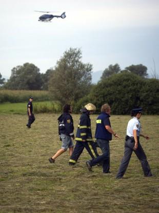 Rescuers survey the site of hot air balloon crash near Ljubljana, Slovenia