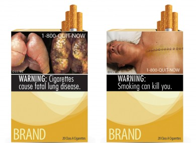 Two of nine cigarette warning labels from the FDA