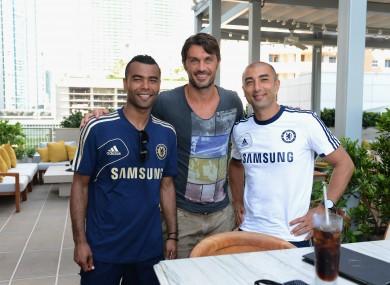 Chelsea's Ashley Cole, Roberto Di Matteo with Ex AC Milan player Paolo Maldini in Miami this week.