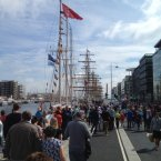 Crowds gathering along the quays in Dublin city this morning to view the Tall Ships. This photo was submitted by reader Stephen Kehoe.