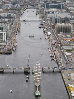 One of the Tall Ships on the Liffey in Dublin on Thursday