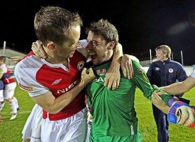 Aidan Price celebrates with St Pat's goalkeeper Barry Murphy, who saved three penalties in last night's FAI Cup quarter-final shootout win over Drogheda.