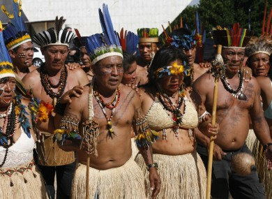 Brazil's Indians of Macuxi and Yanomami Amazon tribes demonstrate in Brasilia, Tuesday, Dec. 9, 2008