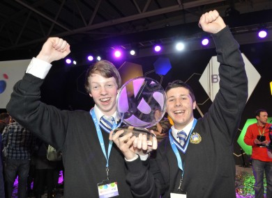 Mark Kelly and Eric Doyle from Synge Street CBS celebrate their victory at the BT Young Scientist in January.