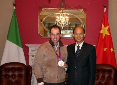 Cian O'Connor meets Chinese ambassador Luo Linquan.