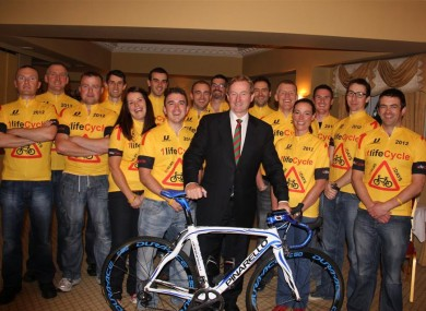 Some of the cyclists taking part today with Taoiseach Enda Kenny recently.