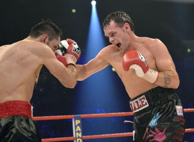 Daniel Geale,  right, connects with a right on Felix Sturm.