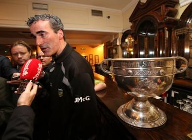 Donegal boss Jim McGuinness speaking to the media in the Burlington Hotel yesterday morning.