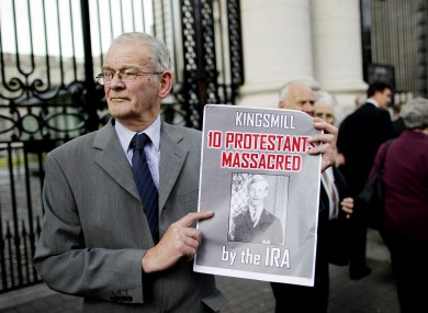 The sole survivor of the Kingsmills, Alan Black, outside government buildings today.