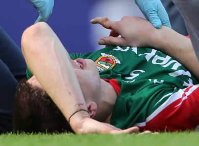Mayo's Lee Keegan after suffering a compound fracture to his index finger during the All-Ireland semi-final.