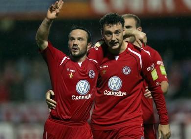 Rafaele Cretaro of Sligo celebrates scoring his side's second goal with fellow goalscorer Mark Quigley.