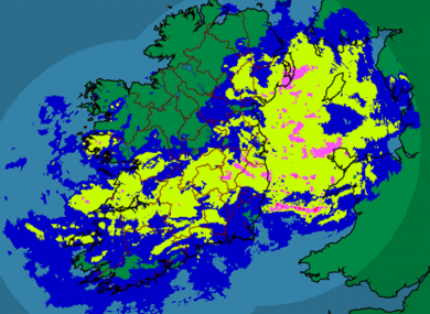 Met Éireann's rainfall radar for 7:30am shows much of the east and south being hit by continued rainfall.