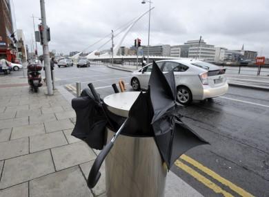 A summer sight? A bin full of broken umbrellas on Sir John Rogerson's Quay, Dublin 2