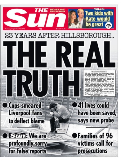 'The Real Truth': how Hillsborough is reported on Thursday's front pages