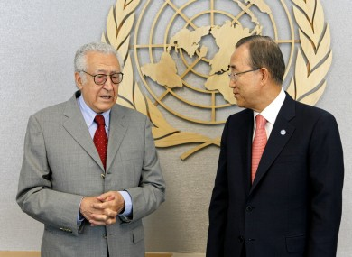 Lakhdar Brahimi, left, with Ban Ki-moon, Secretary General of United Nations