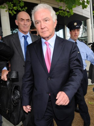 Seán FitzPatrick leaves court in Dublin today.