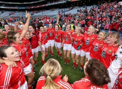 Cork players celebrate winning the All-Ireland ladies senior final.
