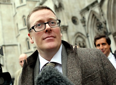 Frankie Boyle outside the High Court in London today