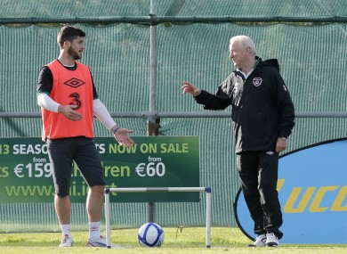 Trap gives Shane Long instructions on Saturday.