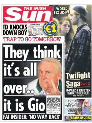 Today's Irish Sun. Editor Mick McNiffe is to leave the paper with immediate effect.