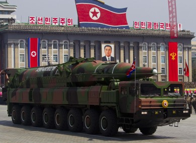 A North Korean vehicle carries a missile during a parade in Pyongyang in April of this year.