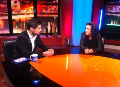 Craig Doyle, left, interviews Emma O'Reilly. The show will be broadcast on RTÉ 2 tonight at 10.35pm.