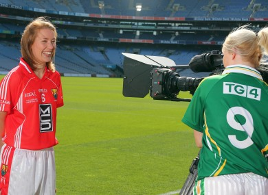 Rena Buckley of Cork with Bernie Breen of Kerry who contest the senior final, which will be shown in HD for the first time on TG4.